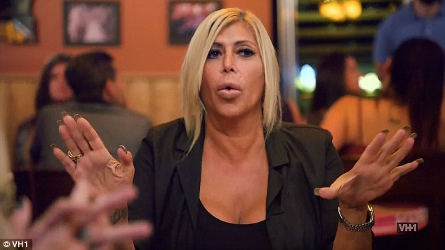 Time to celebrate: The Mob Wives star during dinner said it was a time to celebrate