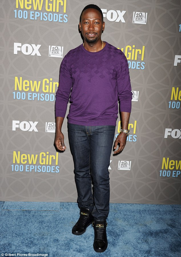 Stepping out! Lamorne Morris made an appearance in a plum-coloured sweater, dark denim jeans and slick black leather sneakers with gold embellishments