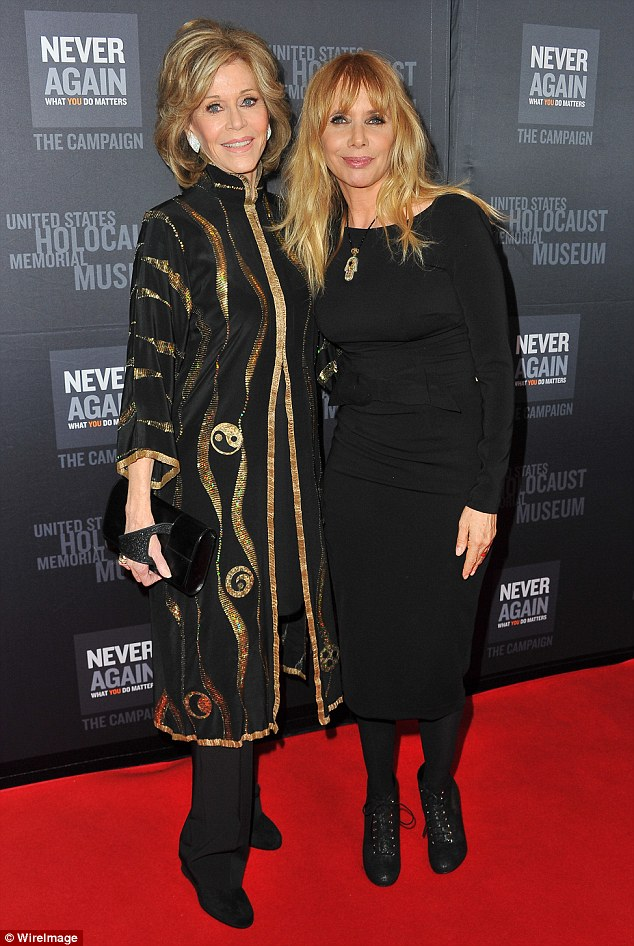 Mystic meet and greet: The Grace And Frankie star looked lovely in a gold-embroidered tunic dress while mingling with Rosanna Arquette who opted for an all-black ensemble