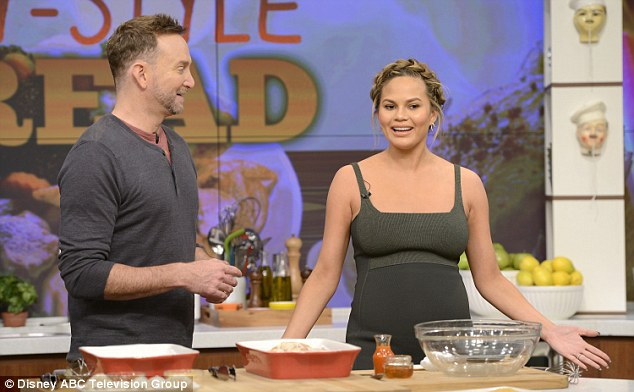 Promo circuit: The model also appeared on ABC's The Chew on Wednesday and shared a recipe from her Cravings cookbook