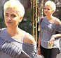 """Paris Jackson looks lovely with her platinum blonde spiked hairdo and an off-the-shoulder """"Brooklyn"""" top and leggings as she stops to get Starbucks in Los Angeles, CA. Wednesday, March 2, 2016. FK-ROL/X17online.com"""