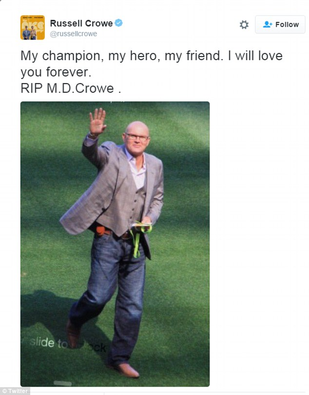 Heartbroken: ¿My champion, my hero, my friend. I will love you forever. RIP M.D.Crowe,¿ the 51-year-old star wrote on his Twitter account, shortly after the tragic news was announced