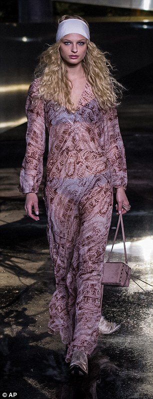 Summer lovin': The presentation also featured '70s style baggy trousers and sheer maxis