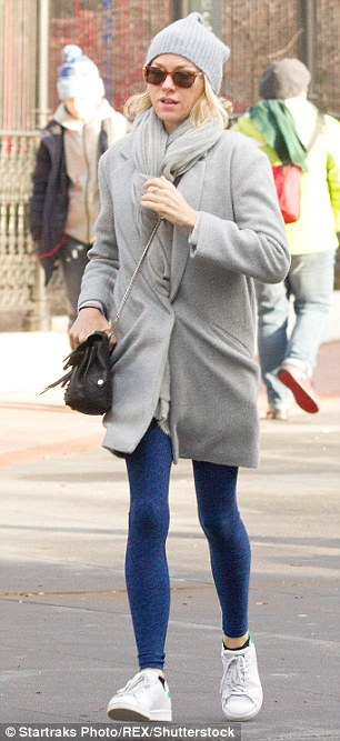 Busy day: The Birdman actress kept warm with an oversized coat and large scarf while around New York