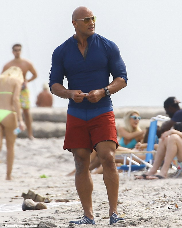 Ripped: Dwayne 'The Rock' Johnson was on the Baywatch movie set  in Boca Raton on Wednesday