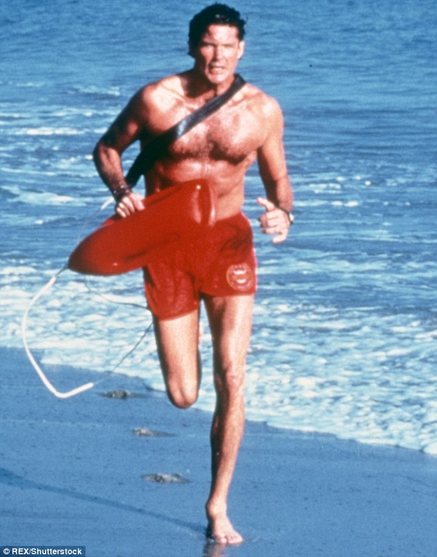 Original and best: Dwayne is slipping into David Hasselhoff's shorts in the movie reboot