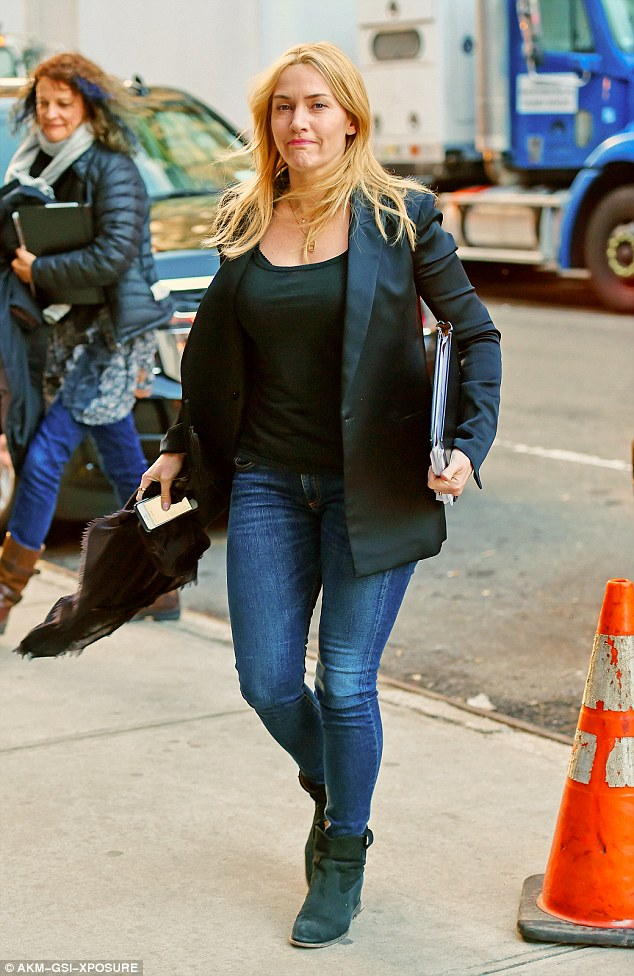 Not expecting: The busy and talented mom-of-three categorically denied she is pregnant as she headed to the film set