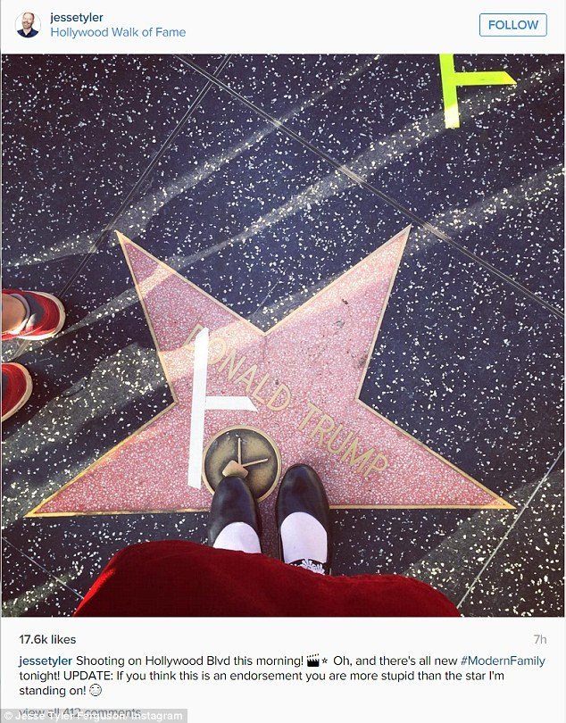 Beneath me: He also shared a pic of his place marker on the street which - whether by accident of design - happened to land on Donald Trump's star