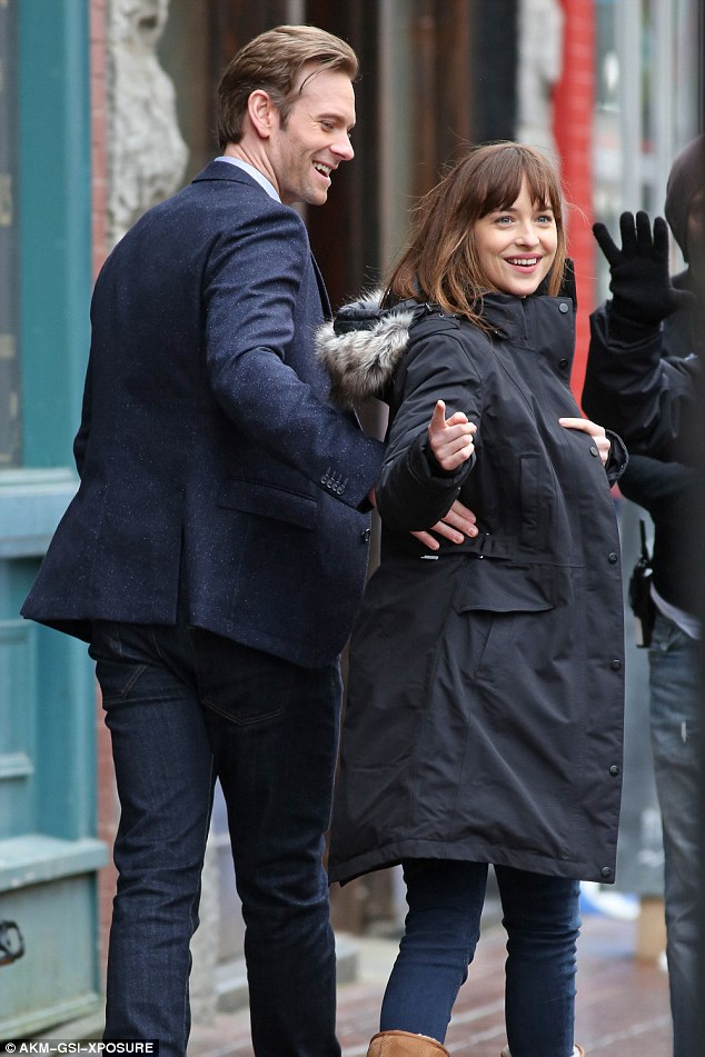 Good rapport: The 36-year-old actor and Dakota already seemed to be getting along swimmingly