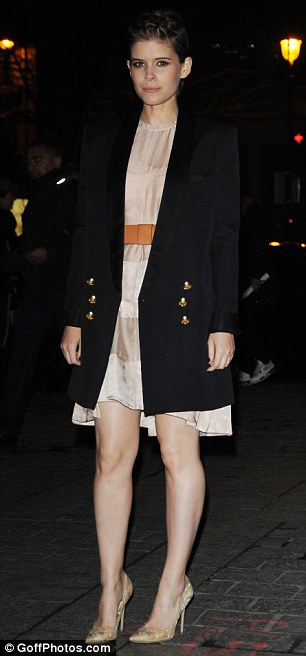 Retro-inspired: Lending her look a more reserved air, the actress opted to inject a hint of retro power-broker chic into the look with a longline double-breasted blazer, which featured understated shoulder padding