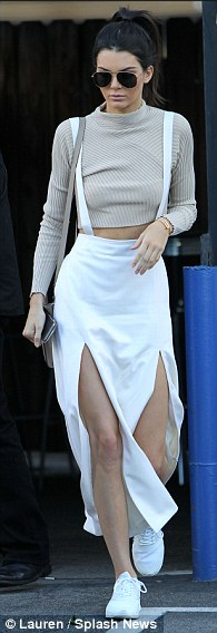 Crop it: Model Kendall Jenner, 20, shows off her enviable abs in one of Monica's staples - a crop top