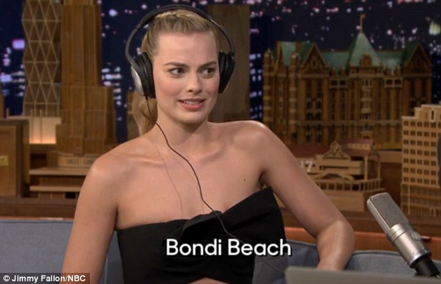 What?Margot Robbie was told to decipher Tonight Show host Jimmy Fallon's pronunciation of Sydney's Bondi beach and was left a little baffled
