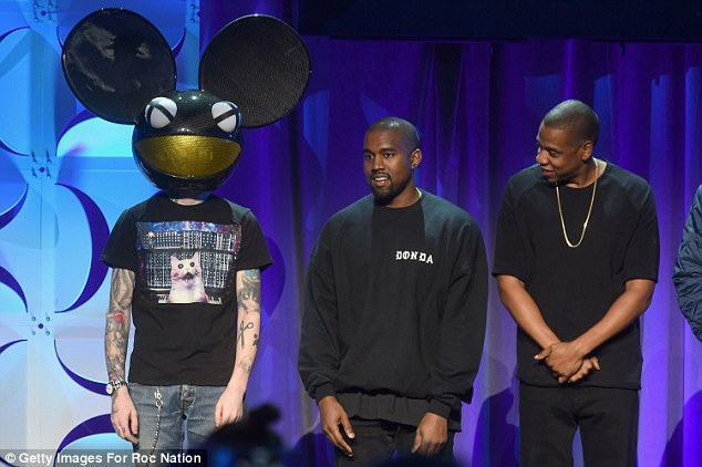 Not impressed: Deadmau5, Kanye and rapper Jay Z on stage at the Tidal launch in New York in March