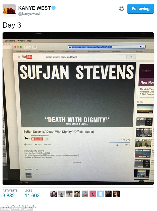 Oversight: The 38-year-old posted thisphoto of his laptop screen to show that he was listening to a Sufjan Stevens song but hawk-eyed fans found something much more interesting about the snap