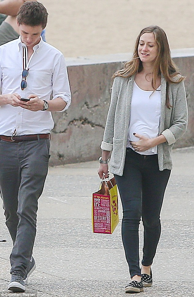 Stylish mother-to-be: And rounding off her relaxed look she also sported a pair of skinny fit jeans which she teamed with a pair of polka dot espadrilles