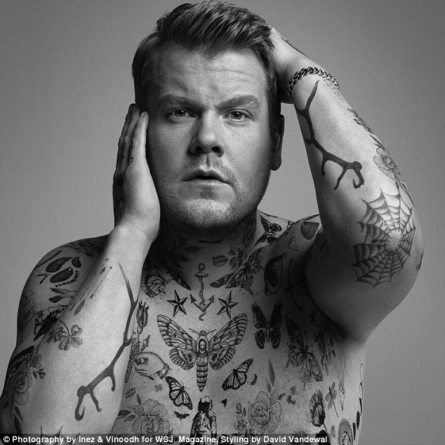Tats a new look: James Corden has showed off his modelling skills after he was covered in tattoos for a shoot for The Wall Street Journal