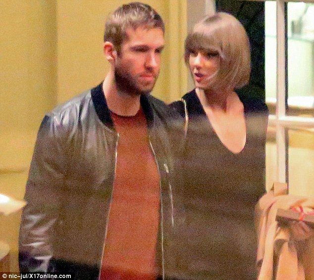 You belong with me: The American superstar and her Scottish DJ partner walked hand-in-hand after enjoying a dinner date at the Los Angeles hotel