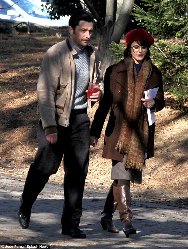 On location: Matthew Rhys and Keri Russell appeared focused on the work as they waited to film scenes for their FX Cold War drama The Americans in Brooklyn on Tuesday