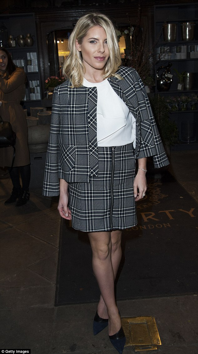 Preppy chic: Mollie King was impeccably dressed in demure matching separates as she attended the Mothers2mothers fundraiser in London on Wednesday evening