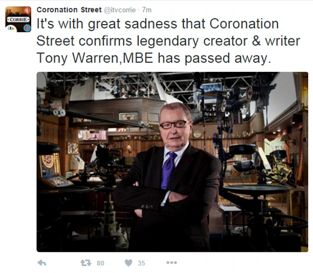 Sad: Coronation Street creator Tony Warren MBE passed away at the age of 79 on Tuesday night surrounded by friends, following a short illness