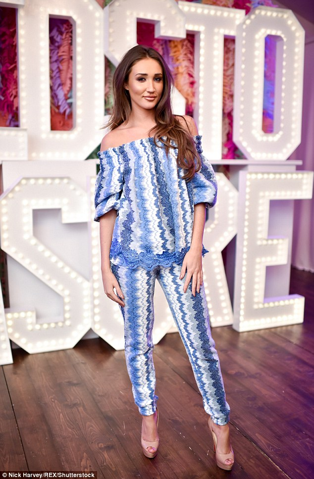 Beautiful in blue!Ex On The Beach's Megan McKenna also made a stylish appearance at the party,exposing just a hint of skin in an off the shoulder blue ruffled blouse with matching trousers
