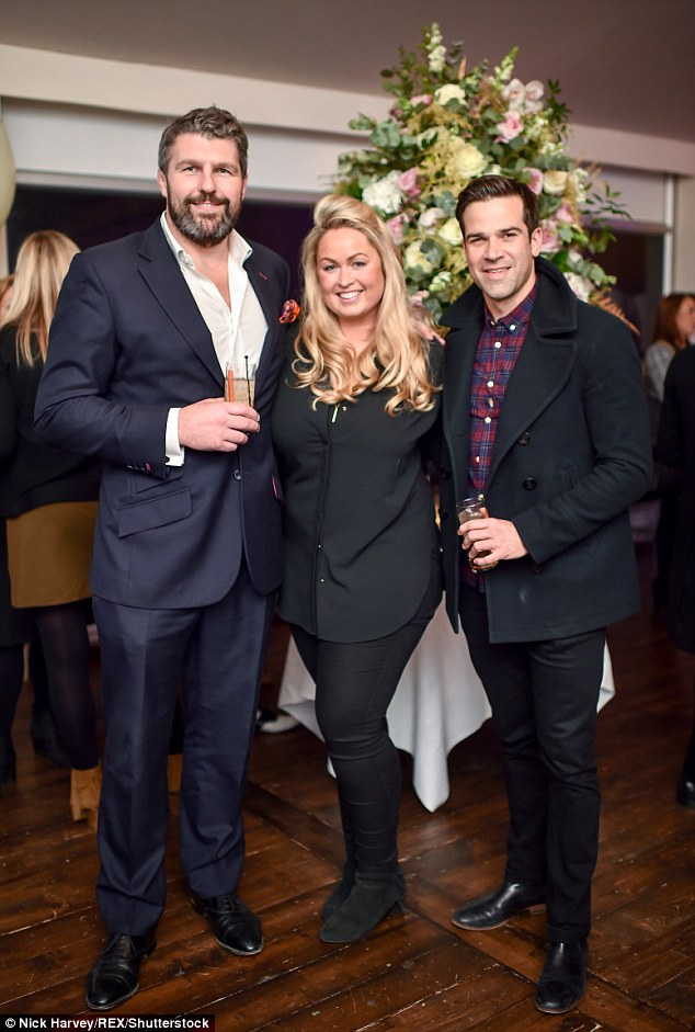 Terrific trio!Andy Newman, Sinclair Sellars and Gethin Jones cut a stylish figure at the party as they cosied up at the party together clad in their tailored and stylish ensembles in muted tones