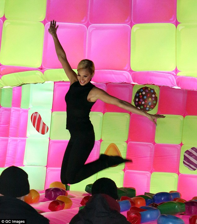Enjoying herself: Speaking to MailOnline about the new bouncy castle, Alicia enthused: 'It's nice to just let go and enjoy yourself and have a bit of fun and the bouncy castle was great'