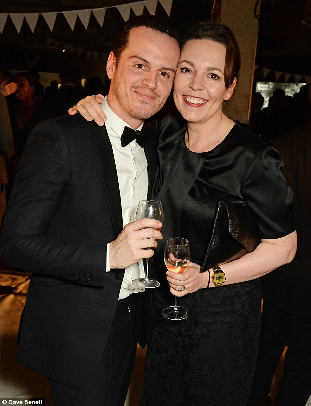 Mingling: The TV favourite spent the evening chatting to a host of British talent, including Spectre star Andrew Scott (pictured)