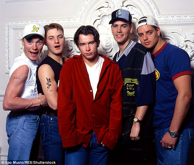 Back to where it all began: Boyzone pictured as a fivesome in 1994 - just one year after bursting onto the music scene