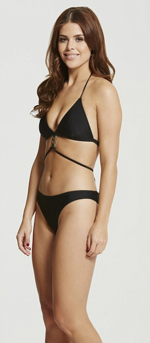In shape: Chloe's flat stomach took centre stage as she modelled her gold pendant multi-strap triangle bikini, her trim waist emphasised by the black two-piece