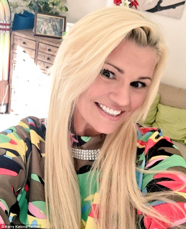 Looking on the bright side: Kerry Katona posted a cheery selfie on Wednesday after admitting she's going through a difficult time