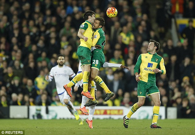 Norwich defender Robbie Brady (left) clashes heads with team-mate Gary O'Neil in mid-air