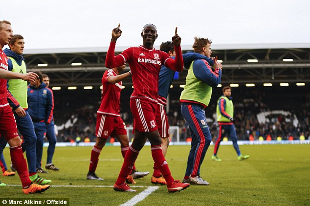 Middlesbrough wingerAlbert Adomah (centre) celebrates his goal during his side's 2-0 win over Fulham