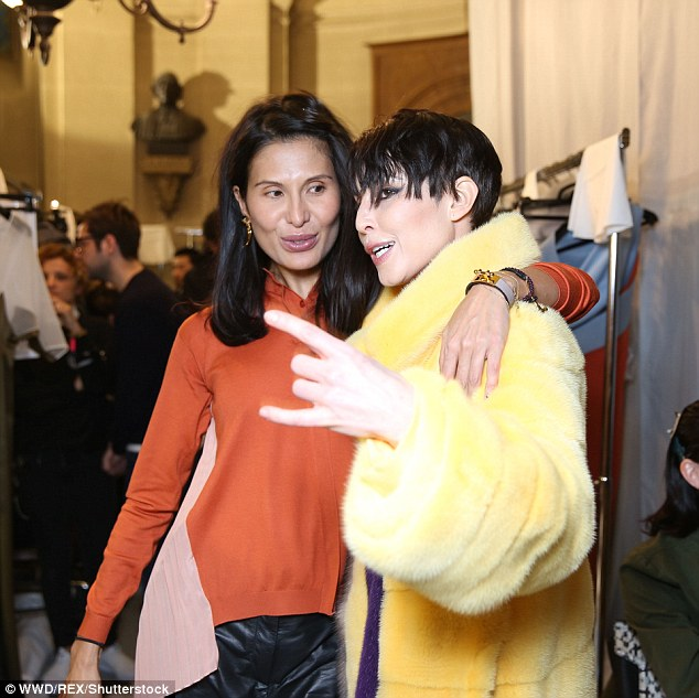 Strike a pose: The actress was seen posing alongside the likes of creative director Goga Ashkenazi after she took in the latest creations for the brand