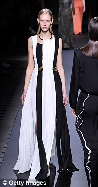 Fashion week begins: The show featured plenty of multi-fabric layered jumpsuits and dresses with floaty skirts