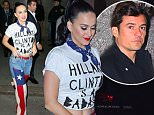 2.March.2016 - New York Ò USA *** STRICTLY AVAILABLE FOR UK AND GERMANY USE ONLY *** New York, NY - Katy Perry greets a crowd after the 'Hillary Victory Fund: I'm With Her Concert with Katy Perry & Elton John' at Radio City Music Hall in New York City. The pop star wore a 'Hillary Clinton is a Badass' t-shirt accessorized with a blue neckerchief and an American flag covered pair of jeans. BYLINE MUST READ : AKM-GSI-XPOSURE ***UK CLIENTS - PICTURES CONTAINING CHILDREN PLEASE PIXELATE FACE PRIOR TO PUBLICATION *** *UK CLIENTS MUST CALL PRIOR TO TV OR ONLINE USAGE PLEASE TELEPHONE 0208 344 2007*