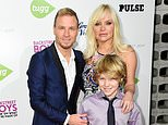 """FILE - In this Jan. 29, 2015 file photo, Brian Littrell, left, Baylee Littrell, foreground, and Leighanne Wallace arrive at the ¿Backstreet Boys: Show ¿Em What You¿re Made Of¿ premiere in Los Angeles. Baylee Littrell, 13, is making his Broadway debut in """"Disaster!"""" (Photo by Rob Latour/Invision/AP, File)"""