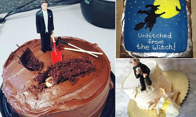 Men and women are having divorce cakes made to celebrate end of marriage
