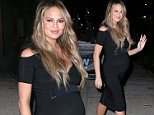 Picture Shows: Chrissy Teigen  March 02, 2016\n \n Chrissy Teigen seen at 'The Daily Show with Trevor Noah' in New York City, New York. Chrissy showed off her growing baby bump in a stylish little black dress.\n \n Non-Exclusive\n UK RIGHTS ONLY\n \n Pictures by : FameFlynet UK � 2016\n Tel : +44 (0)20 3551 5049\n Email : info@fameflynet.uk.com