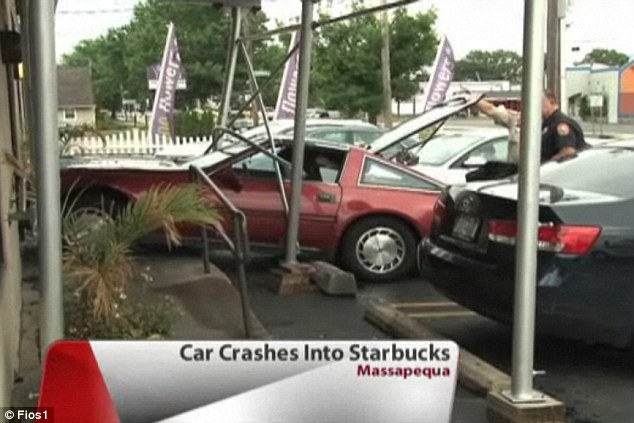 Needing a fix: The woman told officers that her brakes failed while driving to the coffee shop on Friday afternoon, stopping only after she broke open the doors