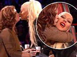 Christina Aguilera kissing a contestant on The Voice\n