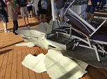 Terror at sea: Passengers aboard Royal Caribbean cruise told to stay in their rooms as ship gets caught in 150mph hurricane-force winds, forcing it to turn around The Anthem of the Seas cruise ship navigated stomach-churning swells as the vessel entered a nor'easter Hurricane-force winds of 150mph caused travelers to be on lock down for hours as furniture flew around the lobbies Four people were injured by the rocking of the storm, but Royal Caribbean said no one has been seriously hurt Royal Caribbean has announced the ship must turn around and head back to Newark due to more bad weather   Cruise left New Jersey for Florida and the Bahamas for a week and is carrying 4,529 passengers and 1,616 crew    Read more: http://www.dailymail.co.uk/news/article-3437209/Horrified-passengers-aboard-Royal-Caribbean-cruise-endure-hurricane-force-winds-forced-stay-room-ship-nauseatingly-rocks-giant-swells.html#ixzz41B5Xhq2H  Follow us: @MailOnline on Twitter | DailyMail on Facebook