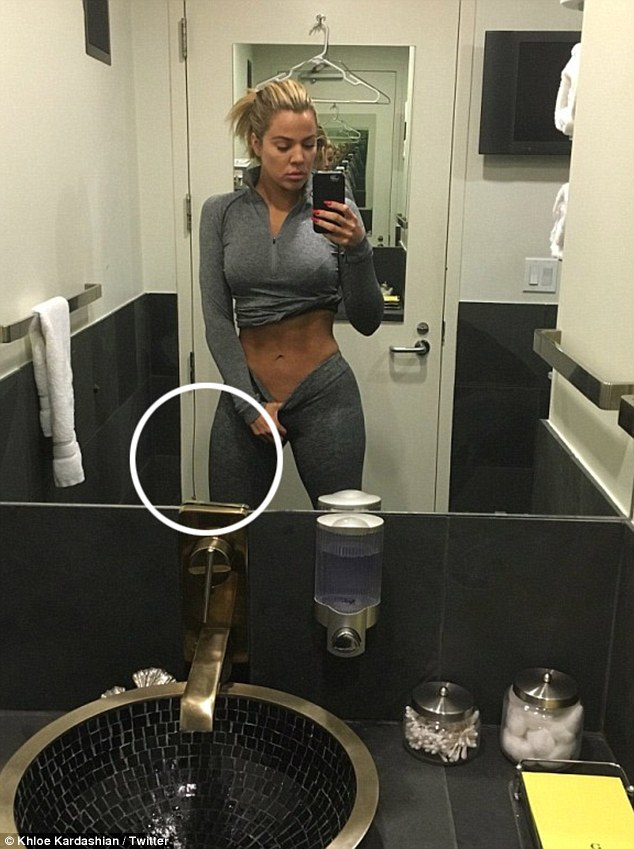 Sneaky selfie: Khloe was busted for altering a gym selfie posted to Instagram in February