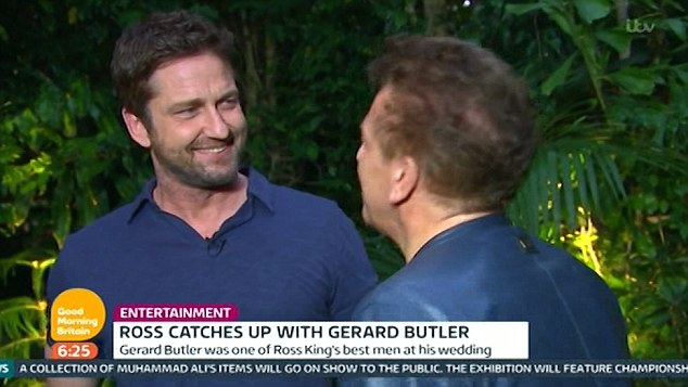 New role: Gerard spoke about his latest movie, London Has Fallen, in which Mike Banning [Butler] is in London for the Prime Minister's funeral, but he discovers a plot to assassinate all the attending world leaders