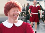 148904, EXCLUSIVE: The sun is out today on the 'Modern Family' set as Jesse Tyler Ferguson dresses as Annie in scenes for the hit show filming on the historic Hollywood Blvd Walk of Fame in LA. Los Angeles, California - Wednesday March 2, 2016. Photograph: © PacificCoastNews. Los Angeles Office: +1 310.822.0419 sales@pacificcoastnews.com FEE MUST BE AGREED PRIOR TO USAGE