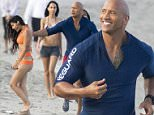 The Rock Dwayne Johnson admires bikini-clad girls on the beach as he films scenes for the new movie Baywatch in Boca Raton, Florida. Rock was running at sunset and even made a grab for one of the girls as she jogged past.\n\nRef: SPL1239175  010316  \nPicture by: Splash News\n\nSplash News and Pictures\nLos Angeles: 310-821-2666\nNew York: 212-619-2666\nLondon: 870-934-2666\nphotodesk@splashnews.com\n