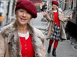 """Hellen Mirren and Michael Pe?a pictured at the """"Collateral Beauty"""" movie set in Downtown, Manhattan.\n\nPictured: Helen Mirren\nRef: SPL1240477  030316  \nPicture by: Jose Perez / Splash News\n\nSplash News and Pictures\nLos Angeles: 310-821-2666\nNew York: 212-619-2666\nLondon: 870-934-2666\nphotodesk@splashnews.com\n"""