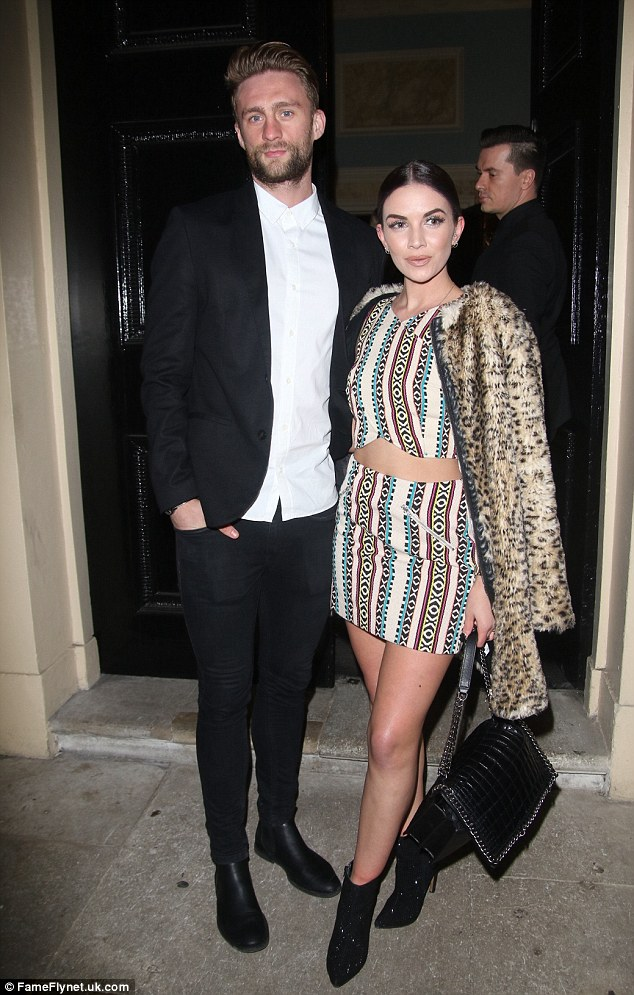 Cute comeback: Former S Club Juniors star Stacey McClean looked beautiful as she stepped out with her footballer fiance Fraser Franks at the Maid to Measure bash at London's Home House on Wednesday