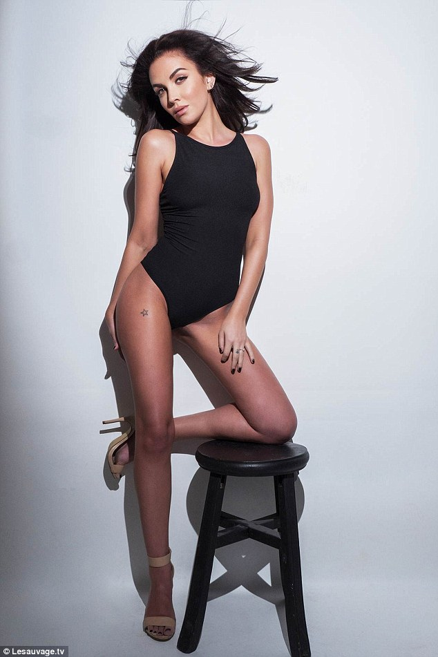 Legs eleven: The singer and model shows off her amazing figure as she posed up in slinky black body and nude high heels