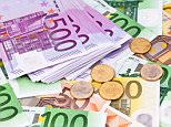 Many Euro banknotes of the European Union.